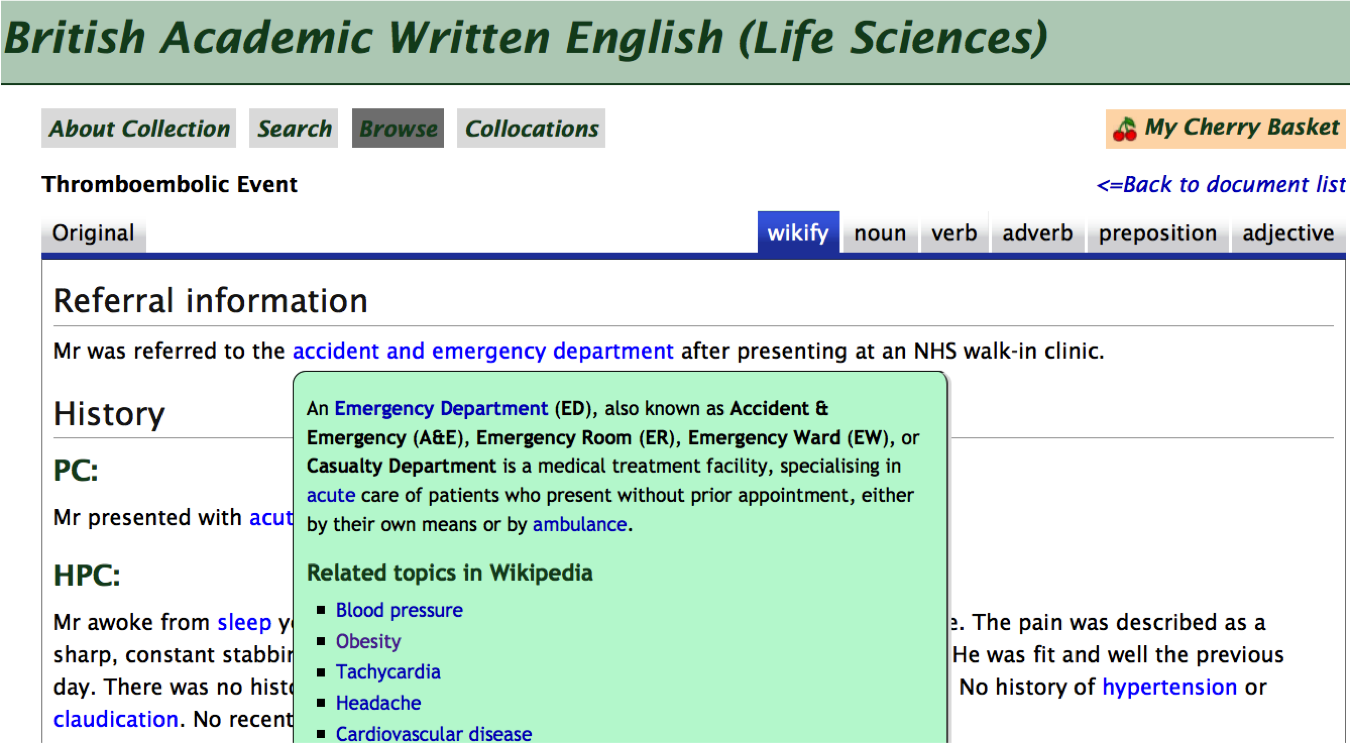 BAWE case study from the Life Sciences collection in FLAX showing links to Wikipedia resources